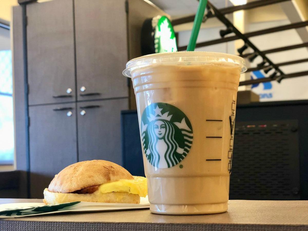 Starbucks breakfast sandwich and coffee