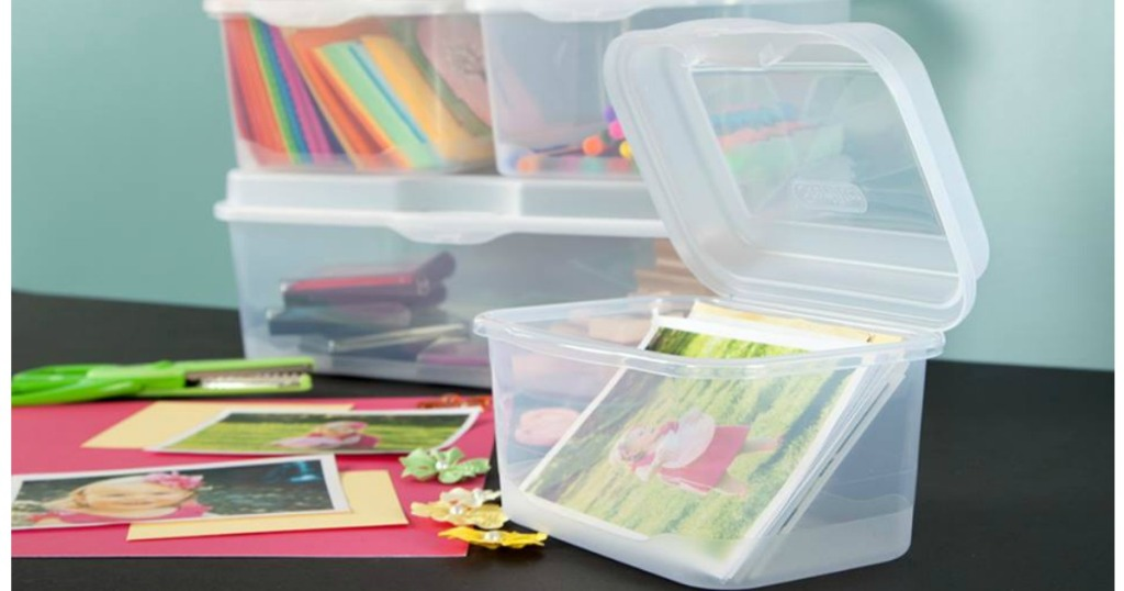 Sterilite Fliptop Clear Plastic bins with cards photos and crayons for crafting