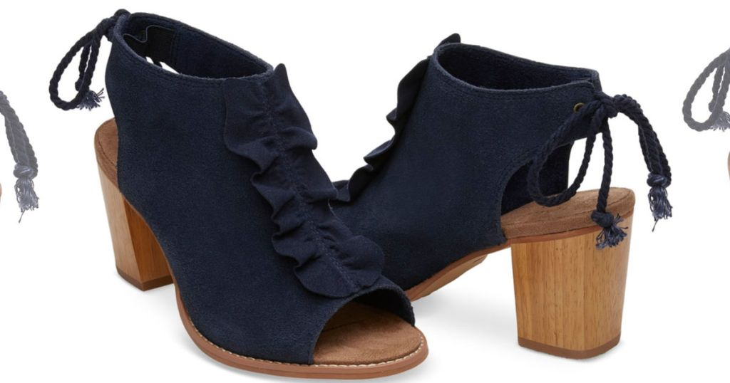 6ce53410bec3 Suede Ruffle Women's Elba Booties in Dark Amber or Navy $49.99 (regularly  $119.95) Use the promo code BOOTS30 (30% off)