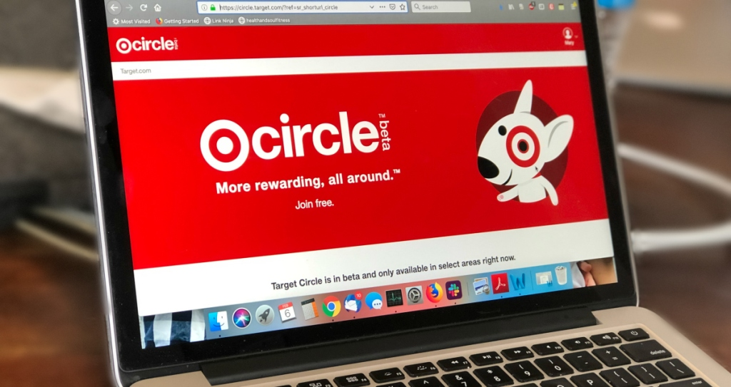 Target Circle loyalty Program pulled up on Macbook Screen