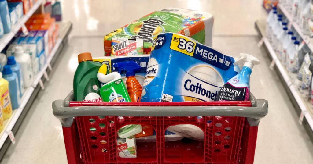 various household items in a Target cart