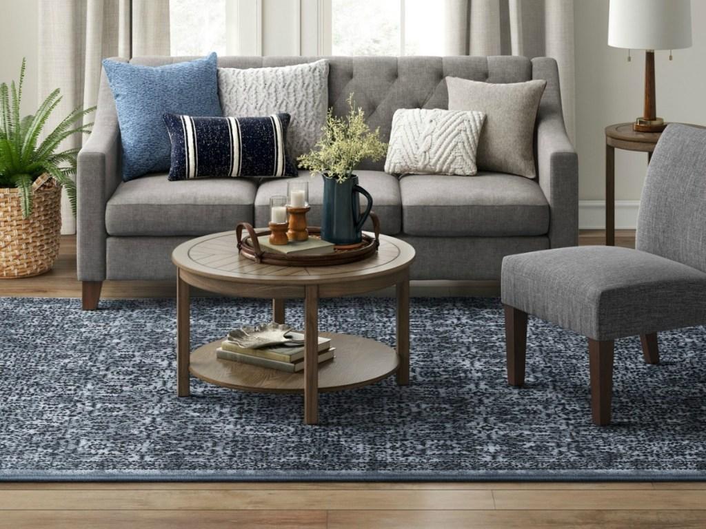 Target Threshold Blue Eyelash Rug Carpet Vidalondon