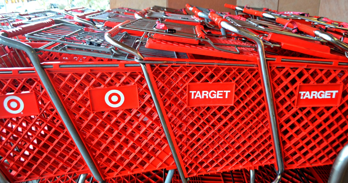 red Target carts pushed together