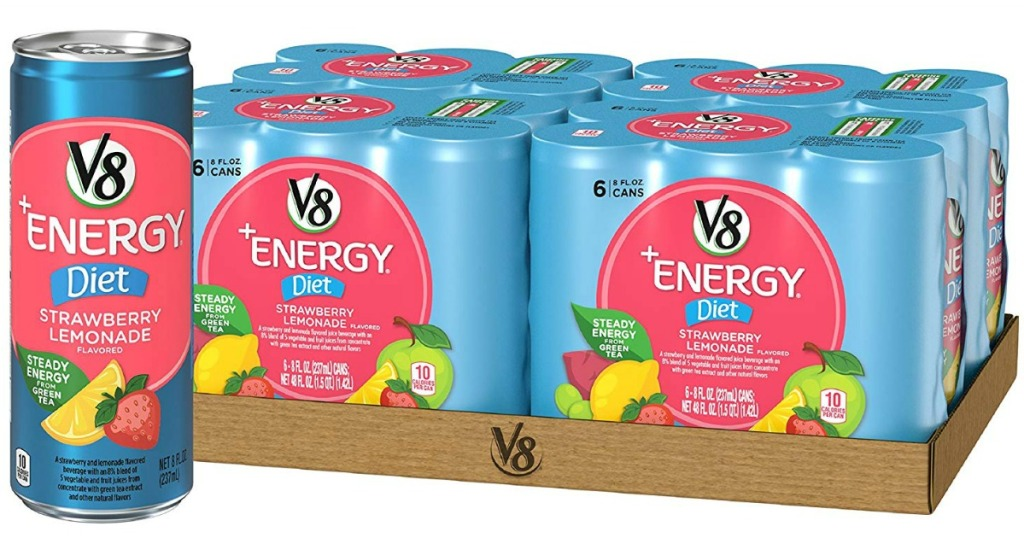 one can with case in the background in V8 Energy Diet Strawberry lemonade