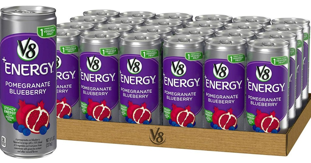 one can with cases in the background of V8 +Energy Juice Drink w Green Tea in Pomegranate Blueberry 24 Pack