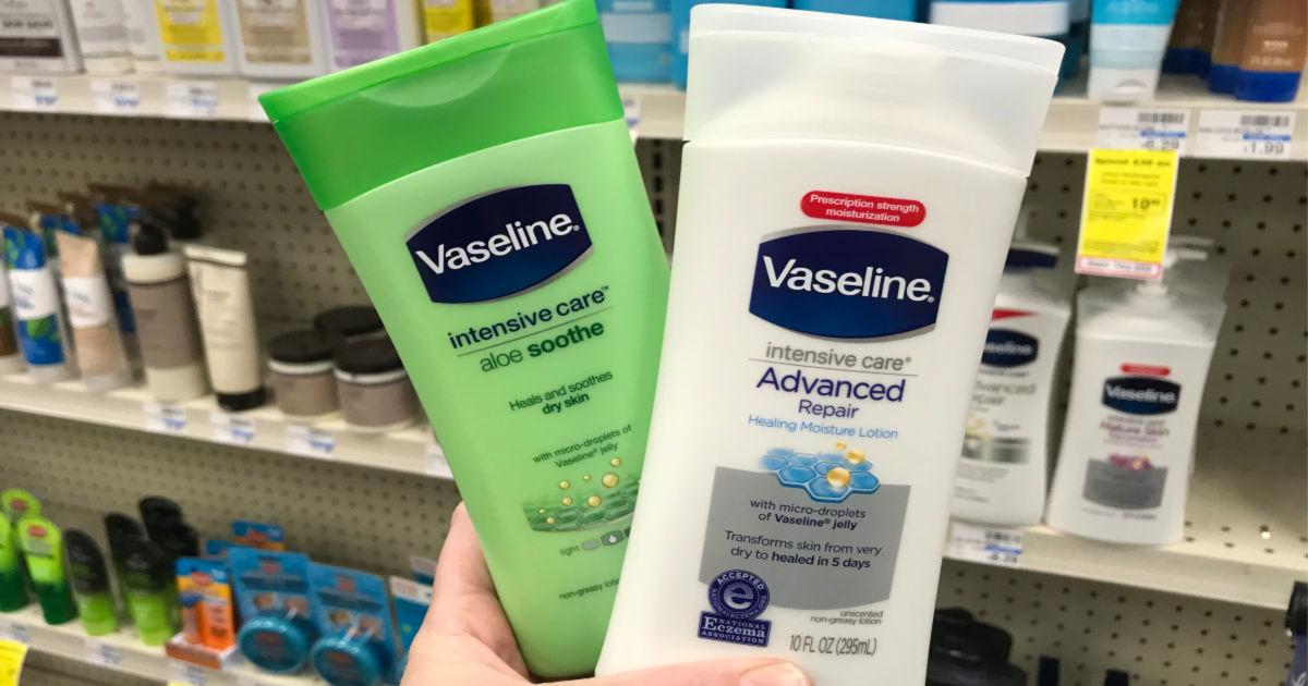 holding Vaseline lotion at CVS