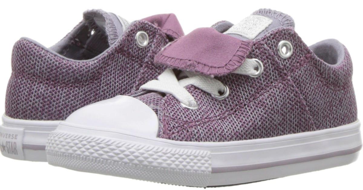 Purple canvas converse shoes