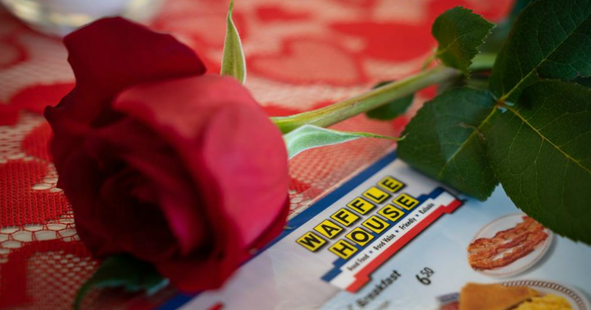 Waffle House rose and menu for Valentine's Day