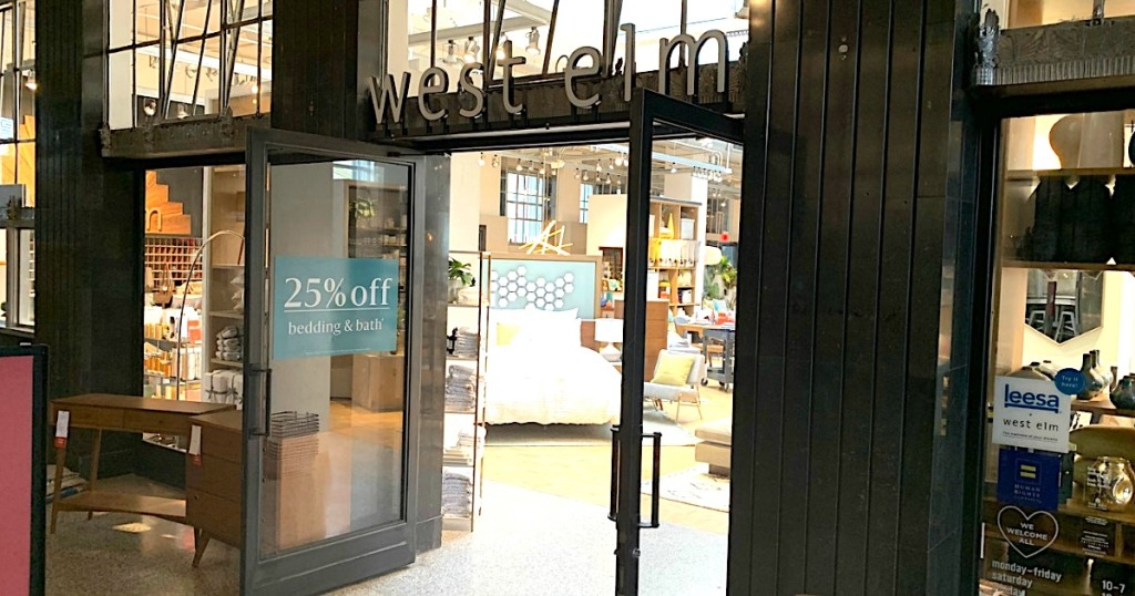 West Elm store front with doors open