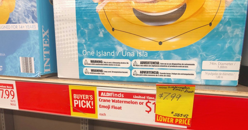red white and yellow aldi clearance tag for floats