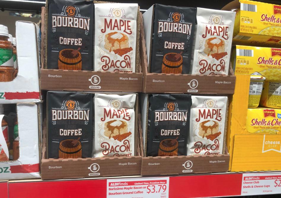 coffee bags on shelf at ALDI