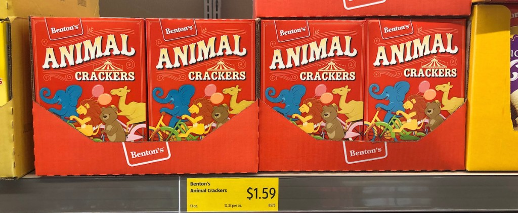 a row of animal cracker boxes