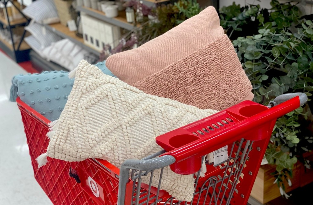 red target cart with pillows inside
