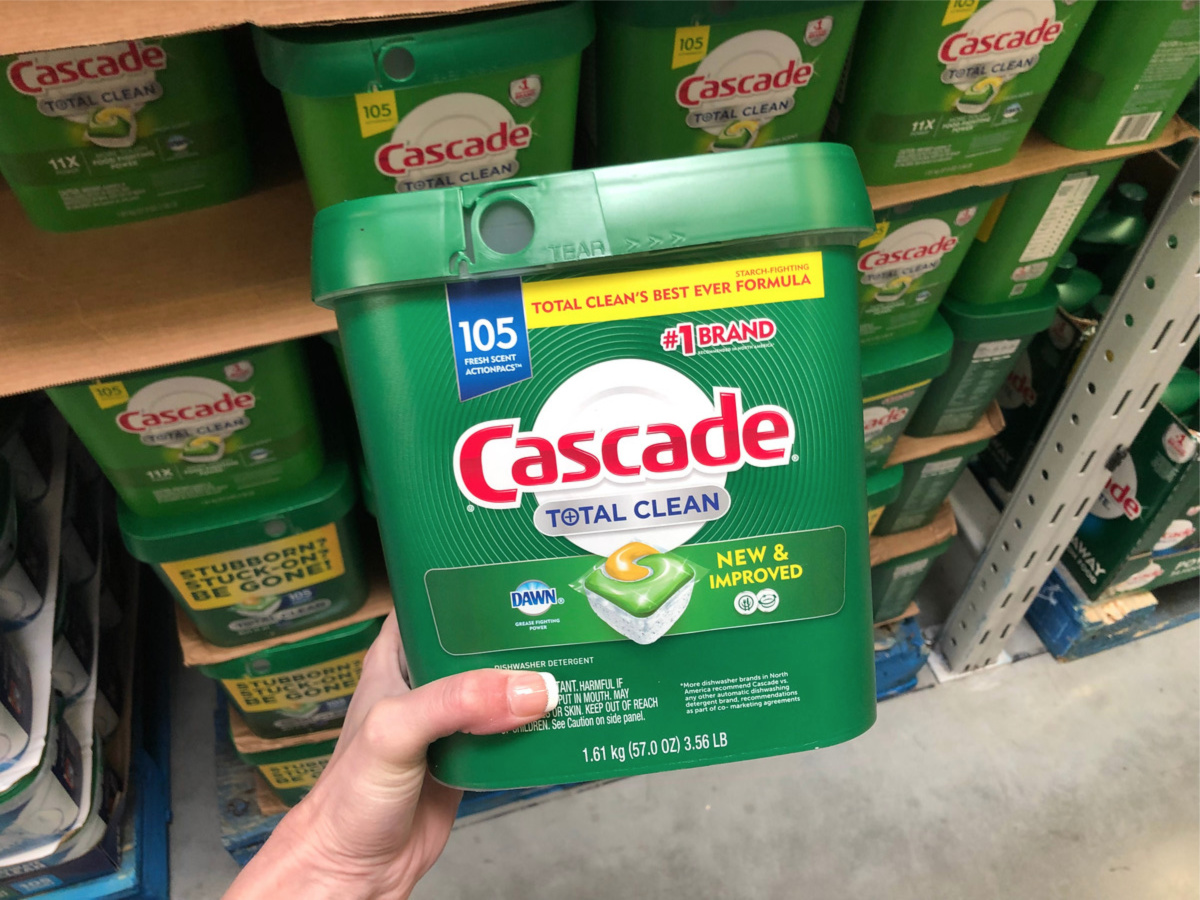 Cascade total clean container held in hand at Sam's Club