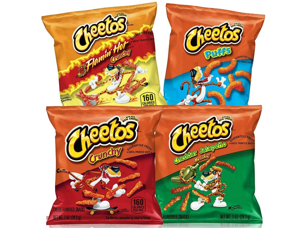 Cheeots flamin hot, puffs, crunch and cheddar jalapeno chips
