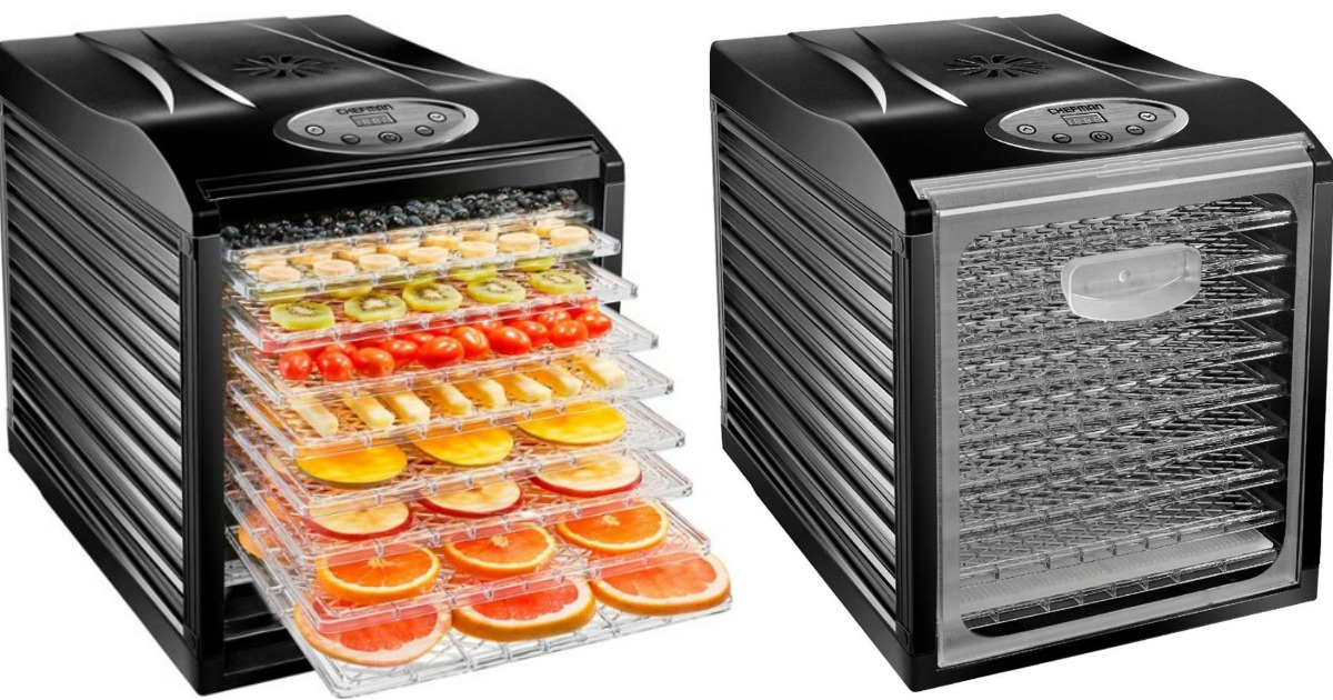 chefman food dehydrator side by side one filled with fruit