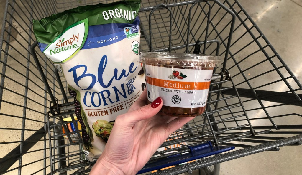 cart with a bag of organic blue corn tortilla chips and fresh cold salsa