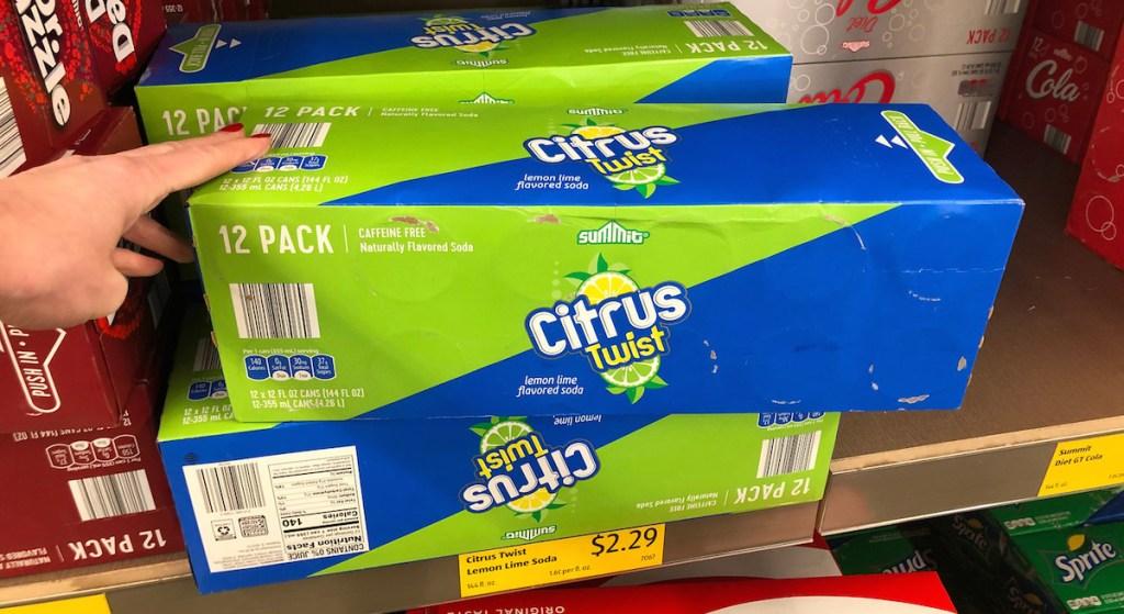 packs of citrus twist sodas sprite knock off cans on shelf