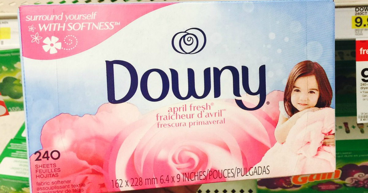 downy dryer sheet box being held up in store