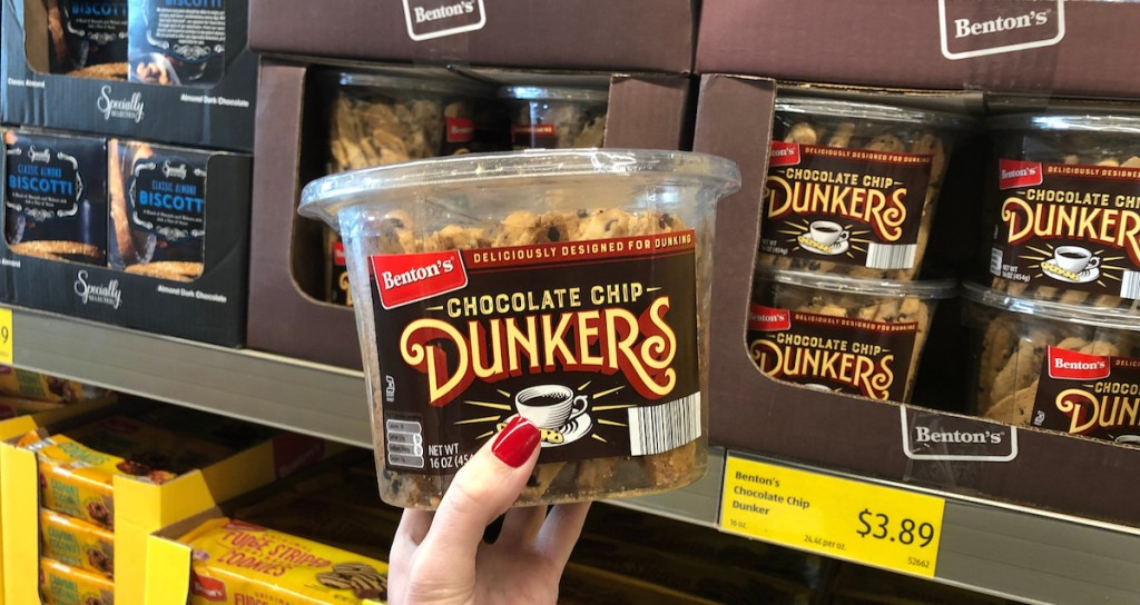 hand holding container of chocolate chip dunker cookies