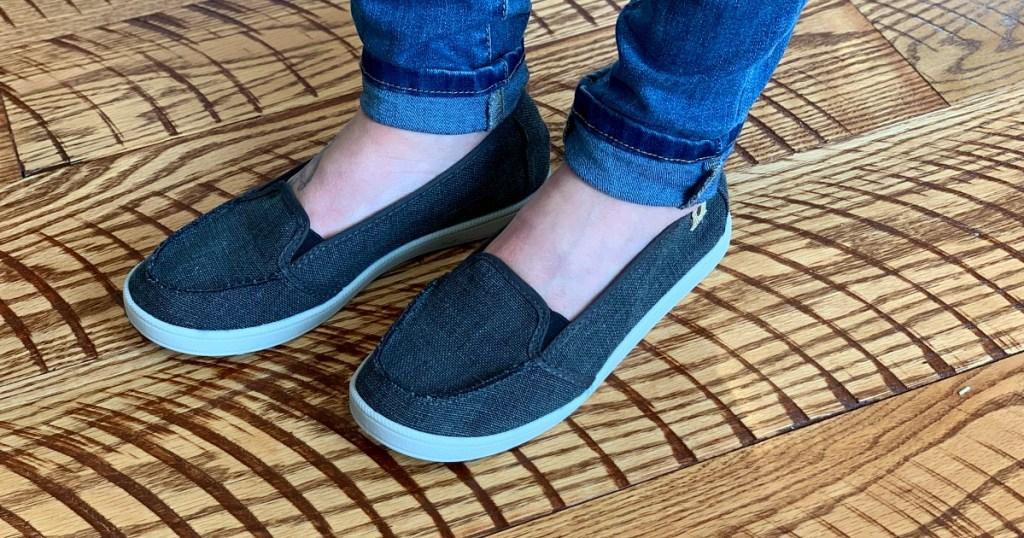 walmart wednesday — erica wearing slip on sneakers from walmart