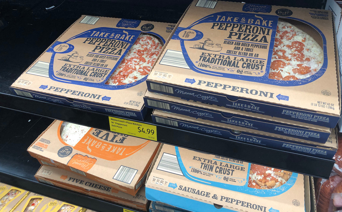 take and bake frozen pizza in a box on store shelf