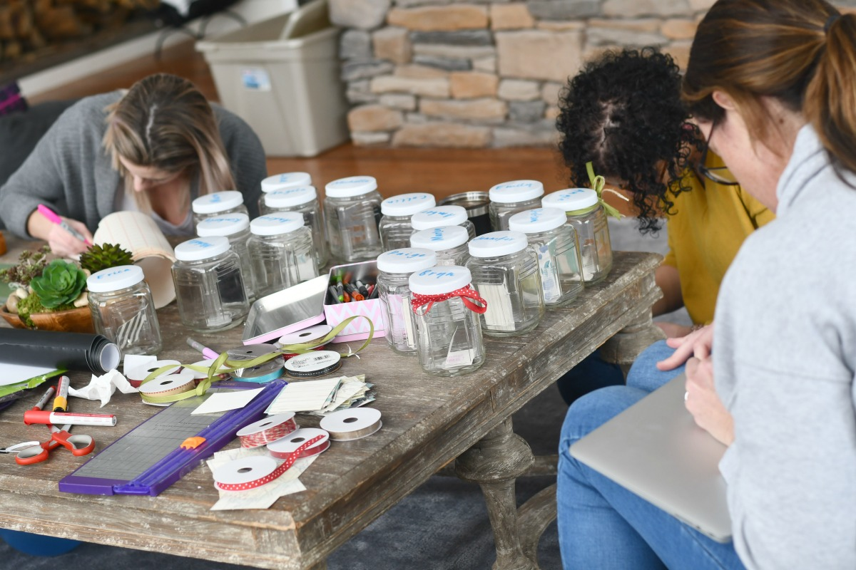 compliment jars being made in the group