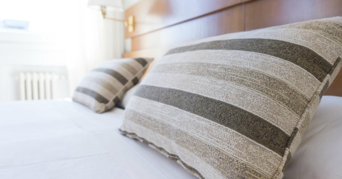 hotel pillows closeup