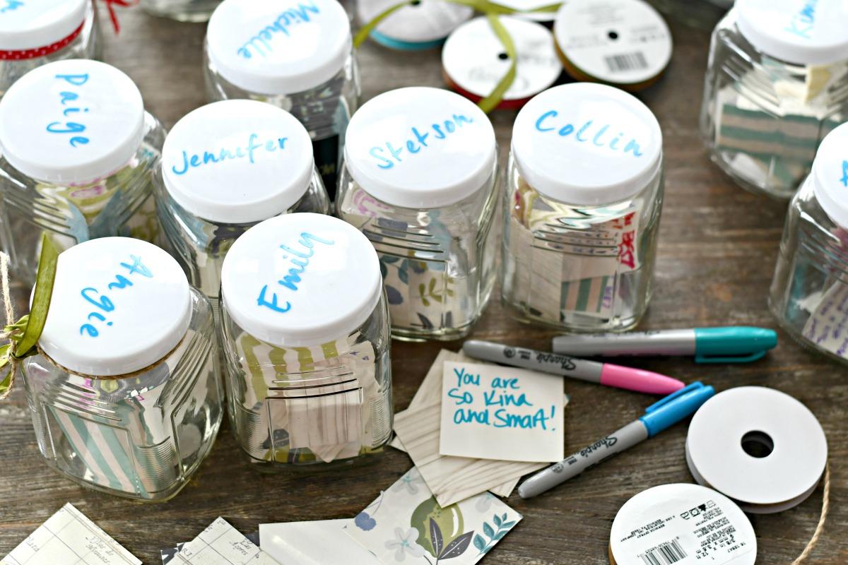 diy kindness jars with team member names on them