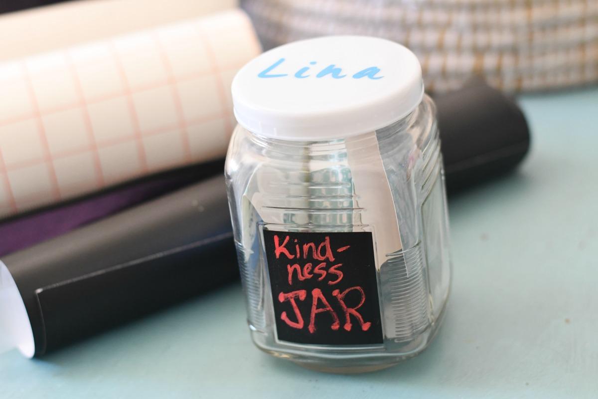 Lina's jar and a chalkboard label