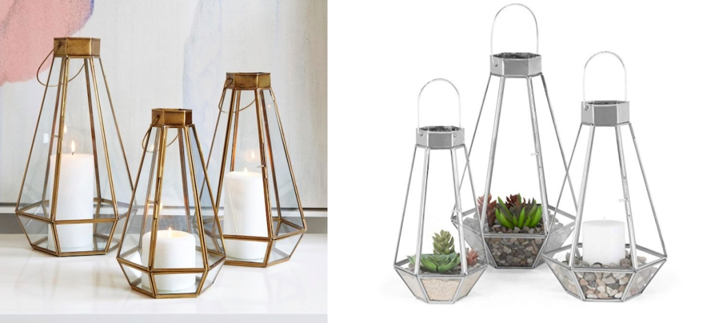 side by side stock photos of gold and nickel glass lanterns