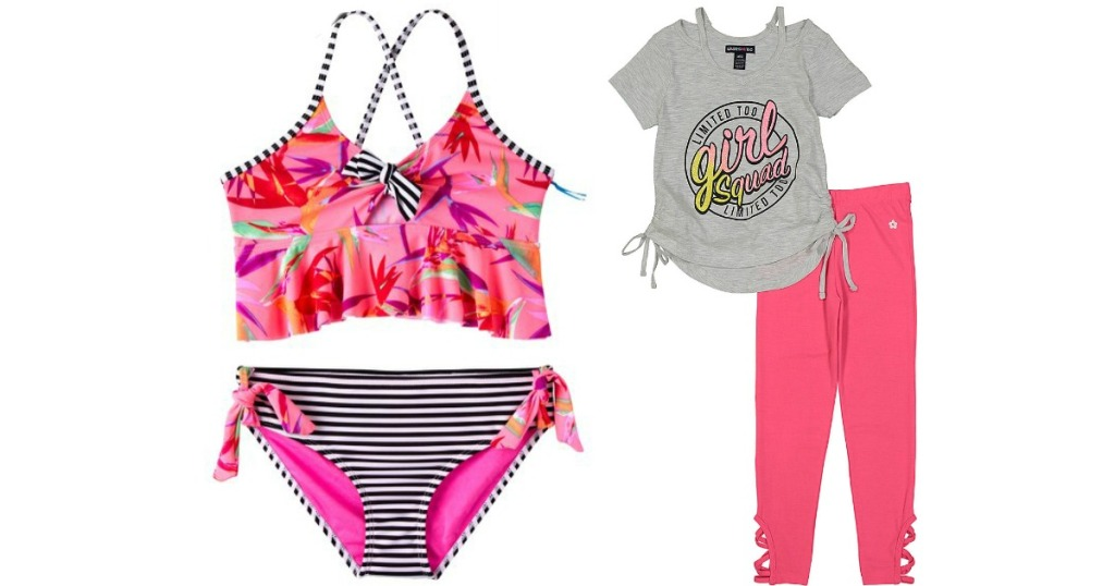 2f745cc3825fb Limited Too Girls Coral Paradise Bird Tankini Top   Bottoms Only  10.49  (regularly  50)