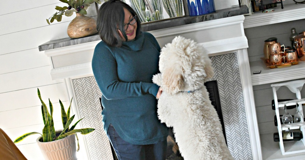 woman with her white poodle