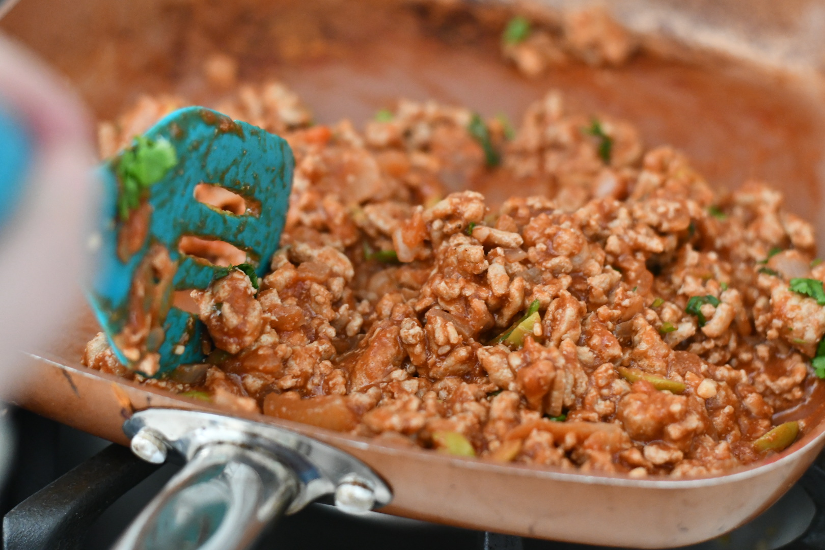 easy skillet picadillo meat cooking in a pan