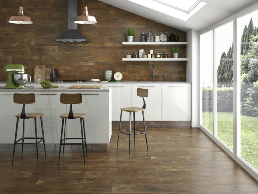 Natural Walnut Kitchen Island In Summit New Jersey: Wood Look Porcelain Tiles As Low As 49¢ Each & More At