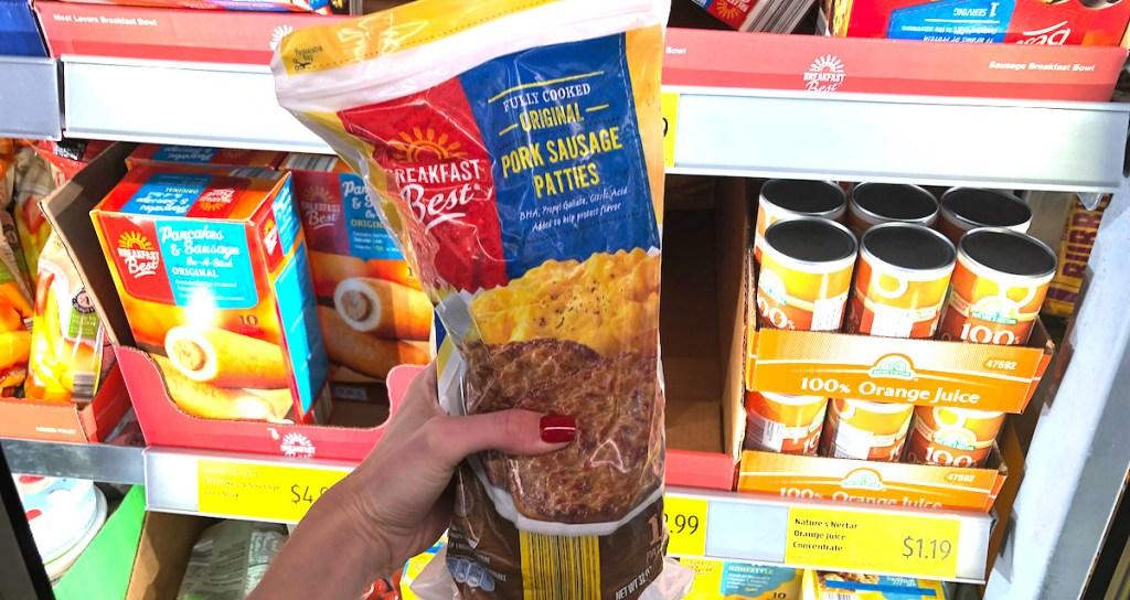 bag of pork sausage patties in frozen aisle