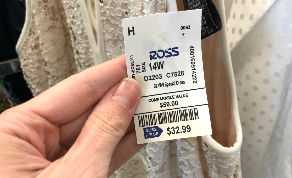 """Ross ivory prom dress label showing """"comparable value"""" pricing"""