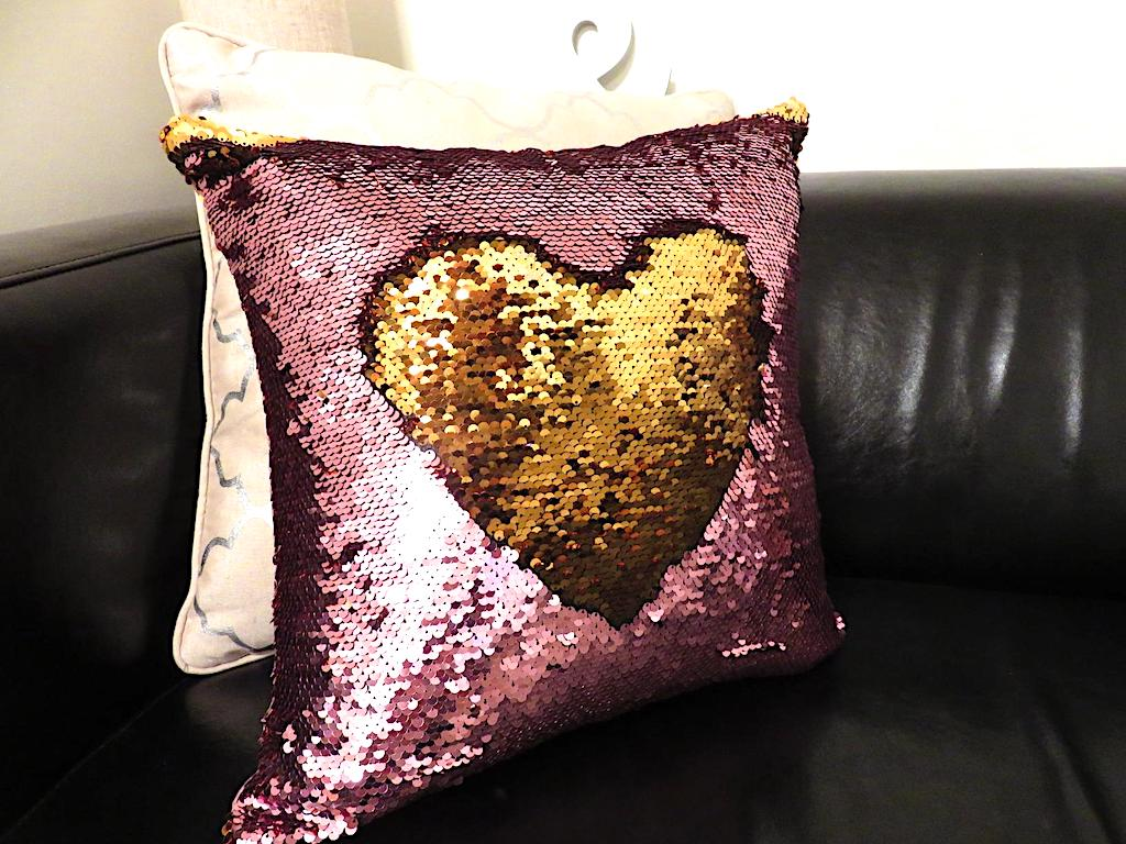 sequin pillow with heart