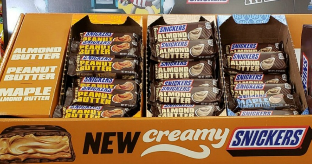 Creamy Snickers bars in display