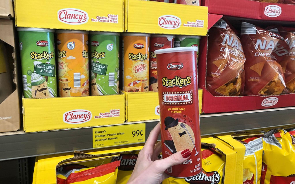 hand holding a container of stackerz pringle chip knock off