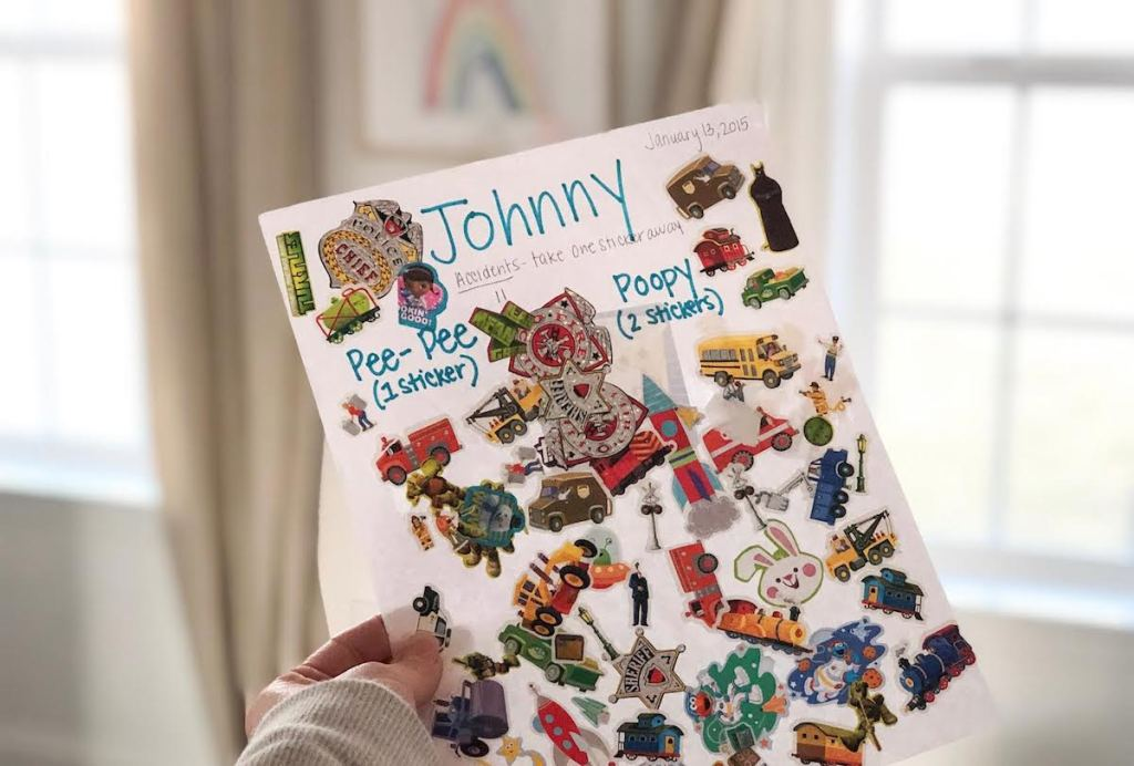 johnny sticker chart paper full of stickers