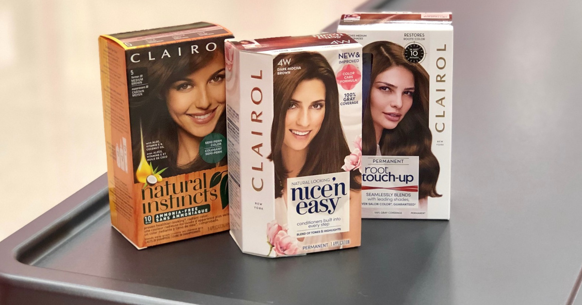 boxes of clairol hair color on a store counter