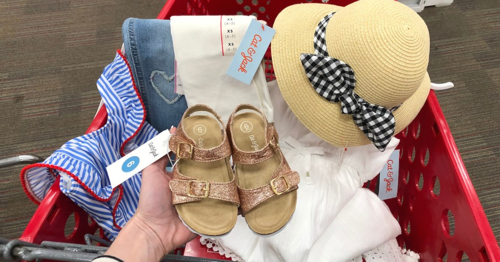 21db27cd7 glitter sandals with clothes and hat in target red cart