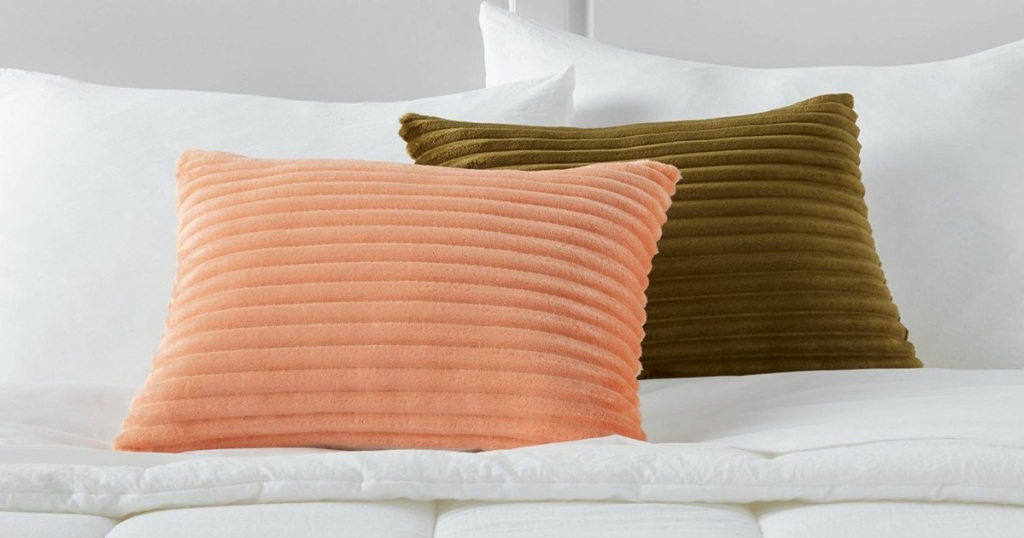 target room essentials pink and brown oblong throw pillow