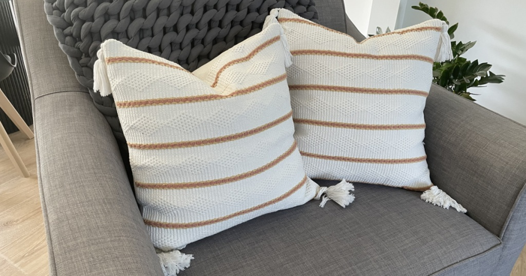 throw pillow covers on a chair
