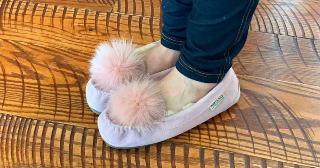 walmart wednesday — paige wearing pom pom slippers from walmart