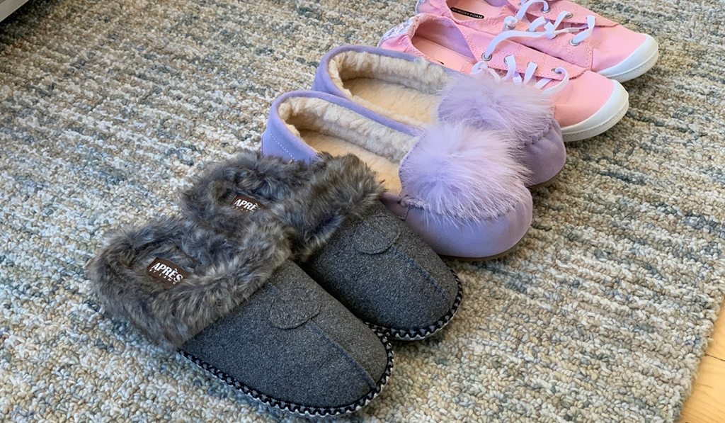 walmart wednesday — line up of walmart slippers and sneakers