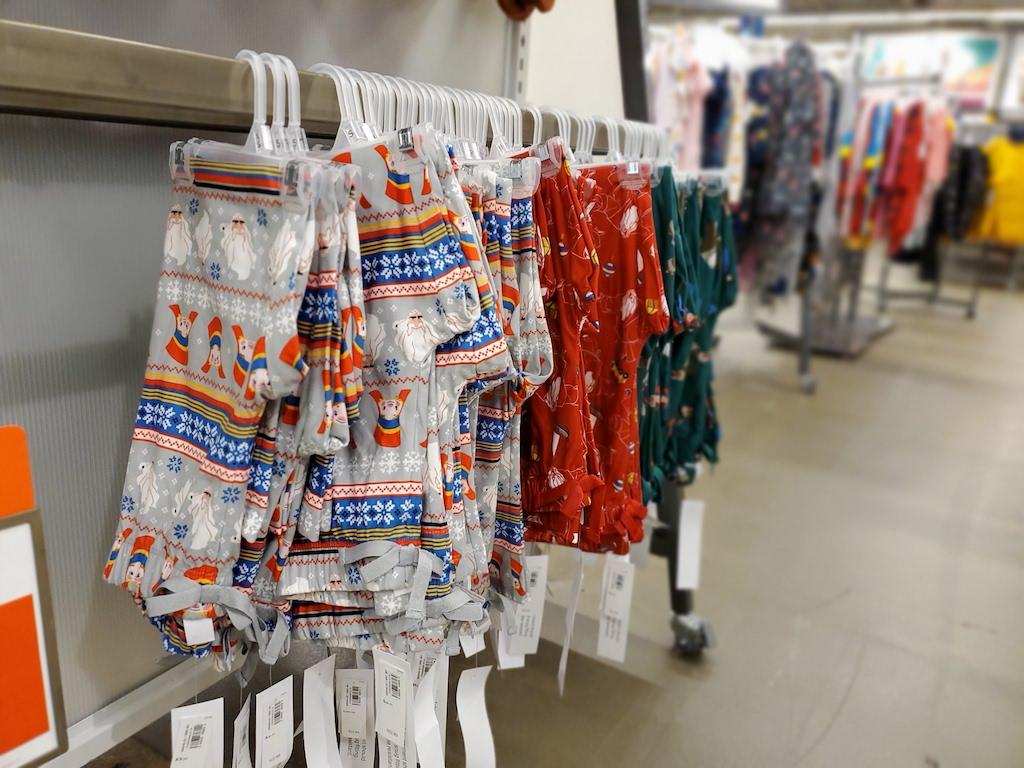 old navy pajama pants hanging on rack in store