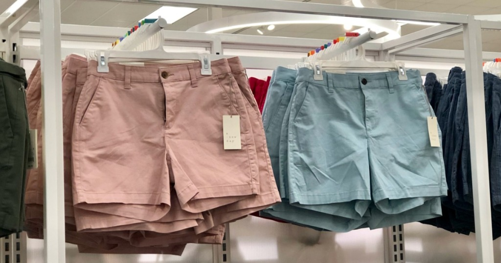 A new Day chino shorts hanging on target rack