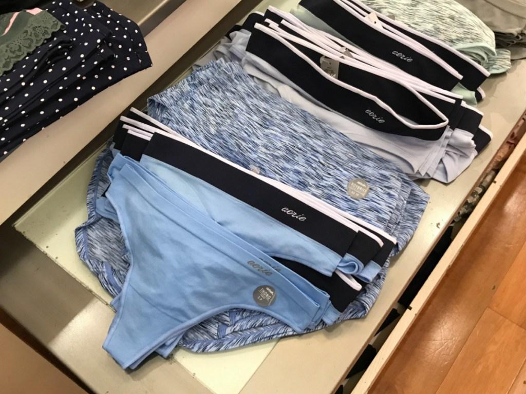 Aerie undies displayed in store on table